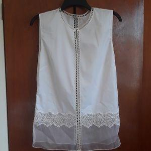 Elie Tahari sleeveless lace blouse size L